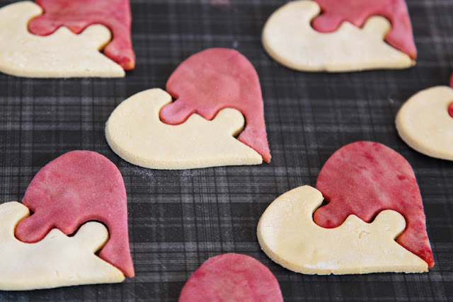 DIY heart puzzle homemade dog treats (pink and white)