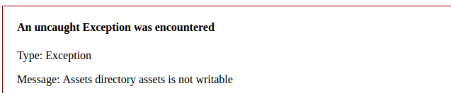 "Error ""Assets directory assets is not writable"" di linux"