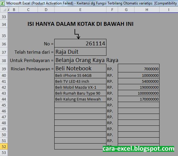 Cara Membuat Kwitansi Menggunakan Excel