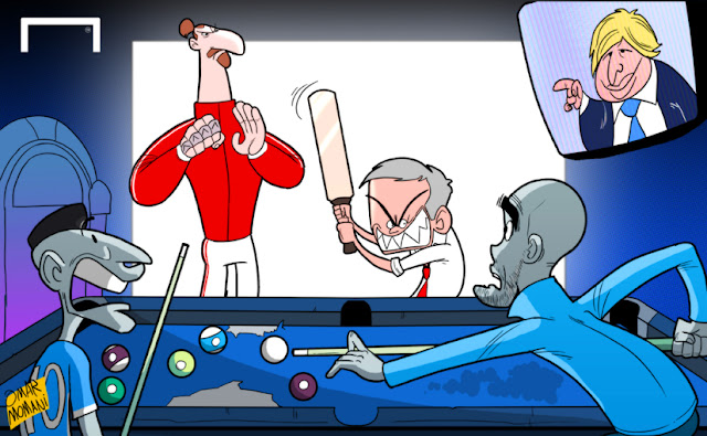 Ibrahimovic, Boris Johnson, Mourinho, Aguero and Guardiola cartoon