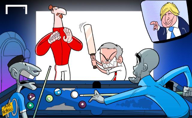 Ibrahimovic, Boris Johnson, Mourinho, Aguero and Guardiola cartoon