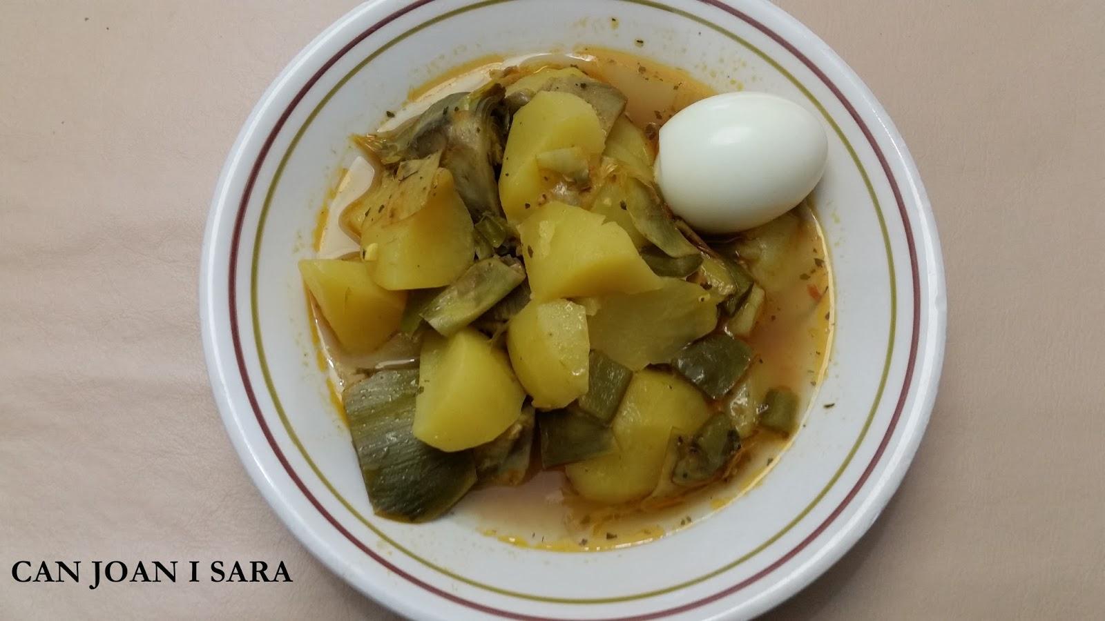 Can joan i sara guiso de patatas y alcachofas con huevo duro - Tiempo para cocer patatas ...