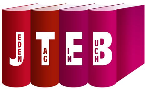 """JTEB - Jeden Tag ein Buch. Das Blogevent für alle Lesewütigen, Kochbuchsüchtigen, Rezensenten und Ich kaufe nur nach Cover-Menschen   Ein Projekt von Arthurs Tochter Kocht by Astrid Paul, Logodesign von Irina Lauterbach von """"Lecker macht Laune""""."""