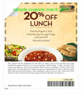 free Olive Garden coupons march 2017