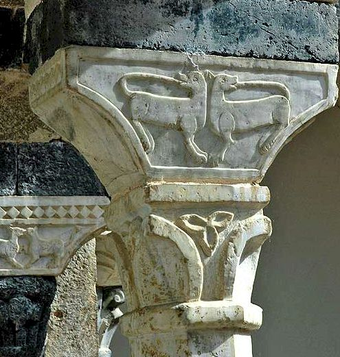 Carved capital at the Abbey of Santa Mustiola