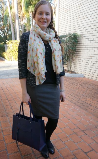 monochrome spring office outfit boucle blazer black blouse grey skirt parrot print scarf | away from blue