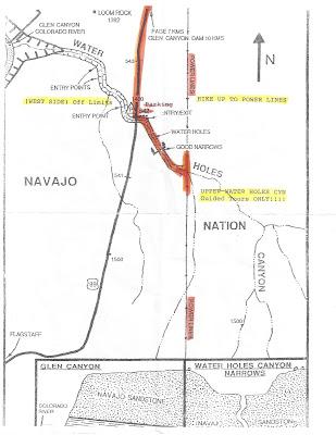 Waterholes Canyon Hike Map