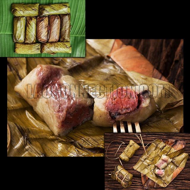 Lao food dessert ເຂົ້າຕົ້ມ kow dtom