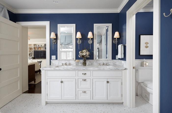 beyaz mavi banyo dekorasyonu nasıl olmalı