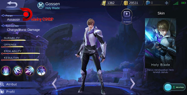 Hero Gossen ( Holy Blade ) High Damage Builds Set up Gear