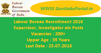Labour Bureau Recruitment 2016