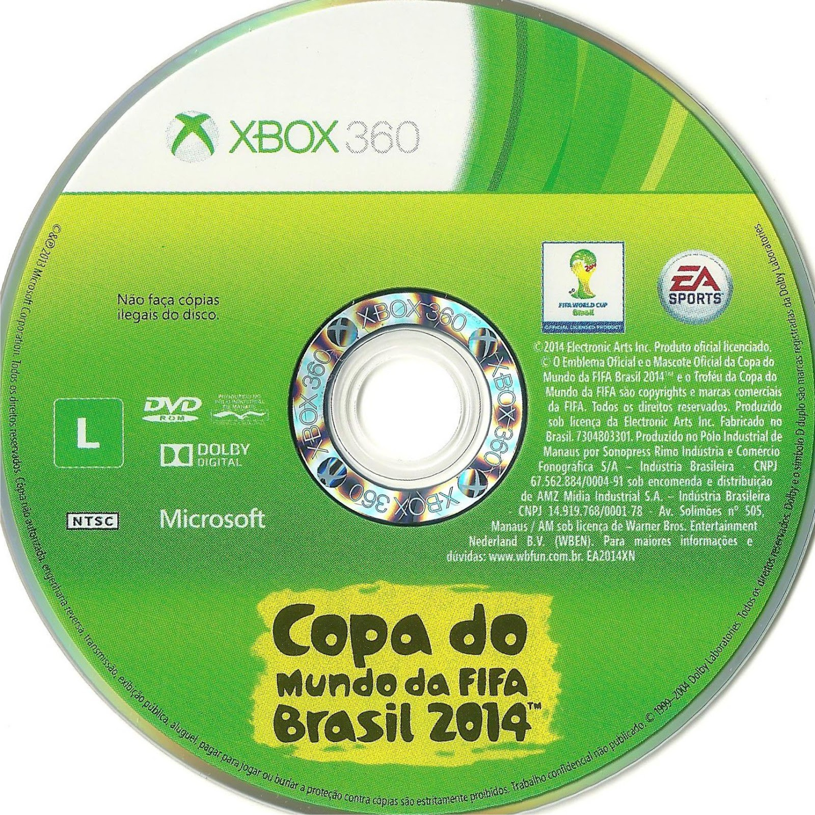 Label Copa Do Mundo Fifa  Brasil 2014 Xbox 360
