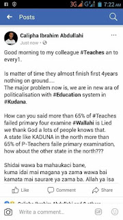 Facebook post of one of the teachers who failed the Kaduna state competency test