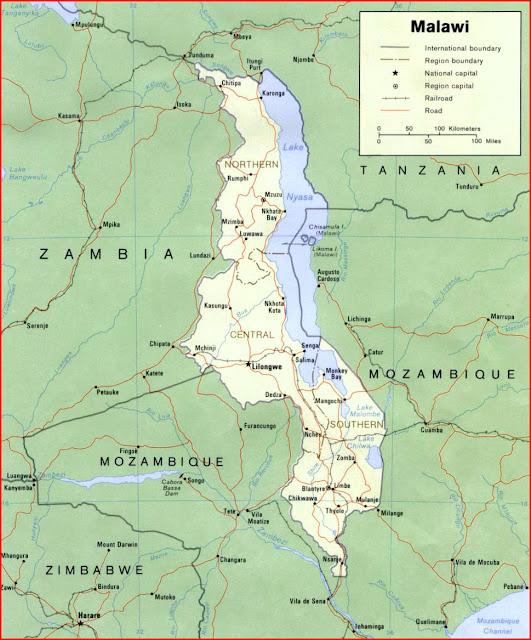 image: Malawi political map