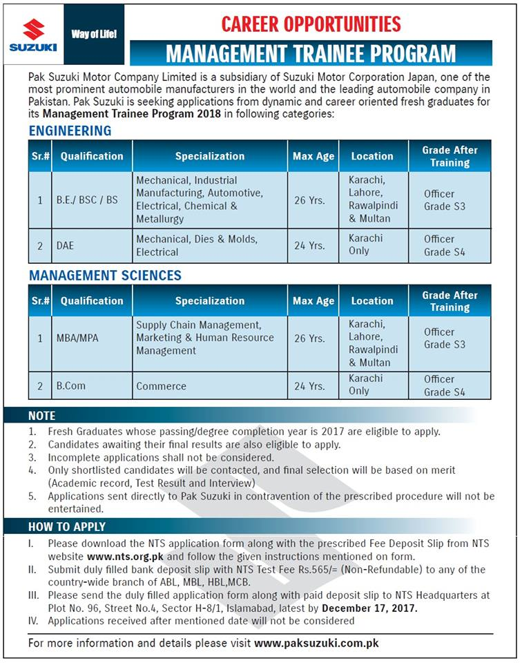 Pakistan Suzuki Management Trainee Program 2018 for MBA B