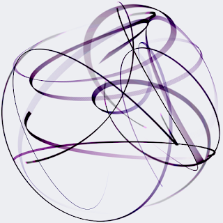An animation of flowing ribbons.