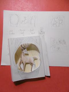 Diorama Cerf, croquis et ébauche de coupe, malooka