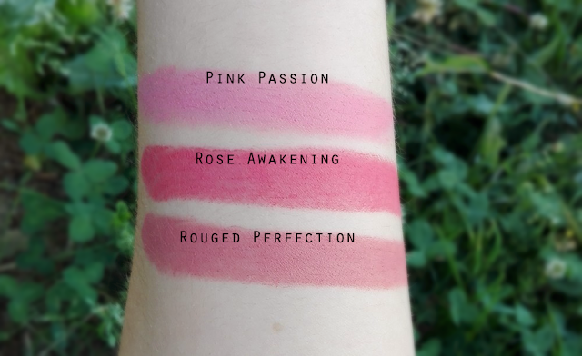 Avon True Colour Perfectly Matte Lipsticks Rouged Perfection, Rose Awakening and Pink Passion - Swatches