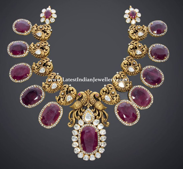 Peacock Oval Ruby Necklace