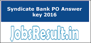 Syndicate Bank PO Answer key 2016