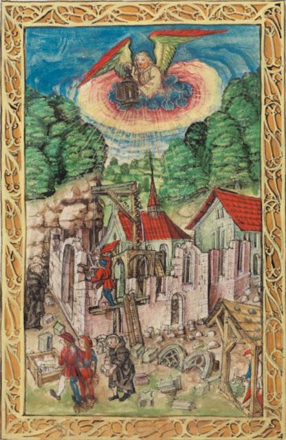 Luzerner_Schilling_Folio_3r_Bau_der_ersten_Klosterkirche_im_Hof_im_8_Jahrhundert