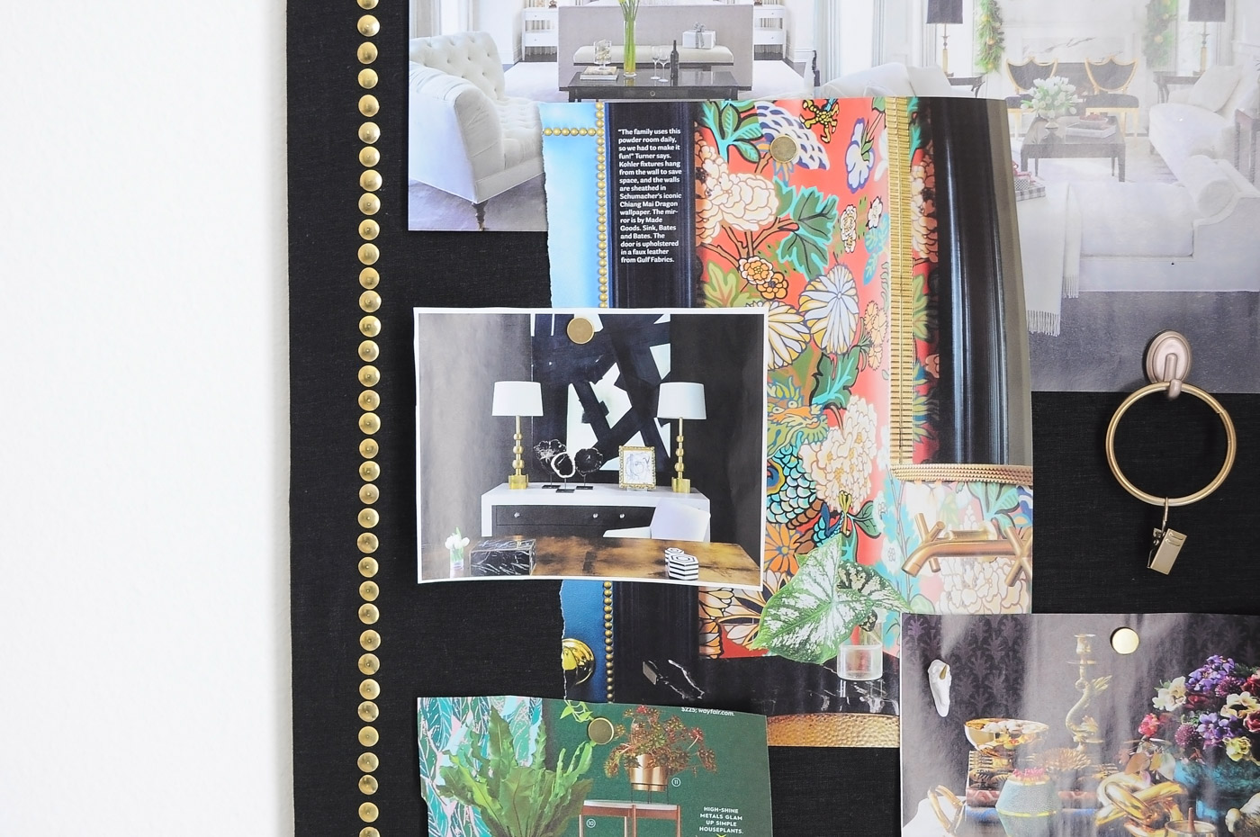 Love this tutorial for how to create a chic, black linen and gold nailhead memo board using dollar store supplies!
