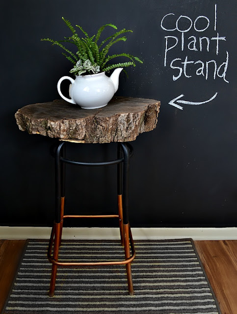how to make: a log slice plant table