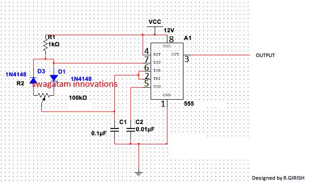 IC 555 PWM control circuit