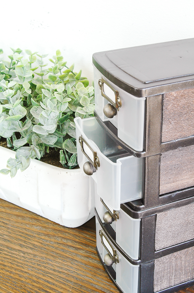 How to turn dollar tree drawers into industrial farmhouse storage