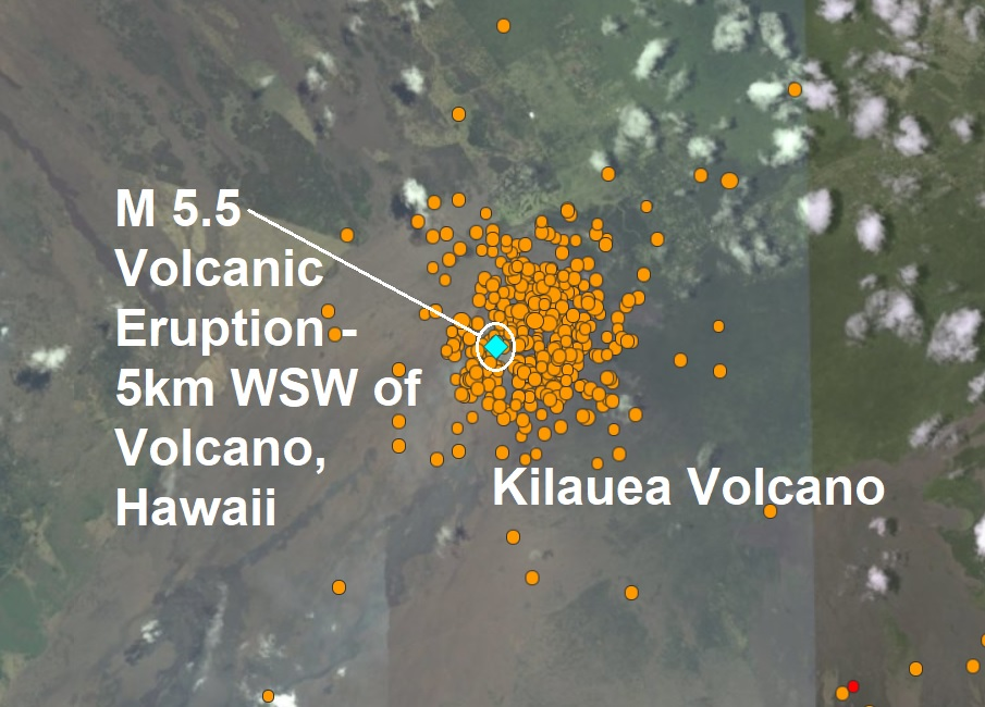 Kilauea Volcano crater is compromised and is clearly unstable as 500 quakes and mag 5.5 explosion hit the stricken volcano in Hawaii  Naamloos