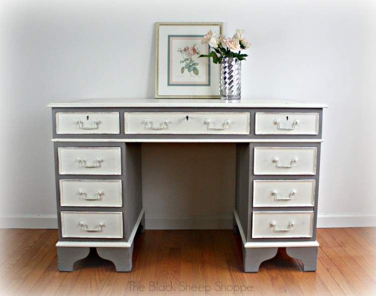 Executive desk painted in French Linen and Old White