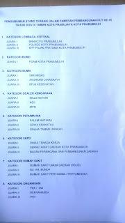 Pemenang 12 katagori stand Terbaik HUT Kota Prabumulih ke 15 Th