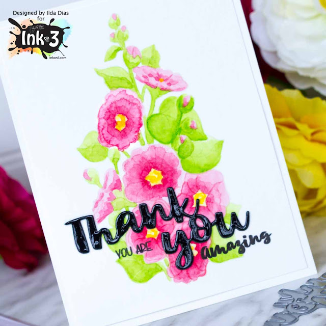 Hollyhocks Thank You Card - No Line Coloring by ilovedoingallthingscrafty