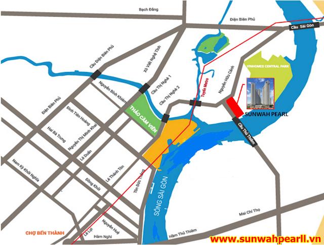 Vị trí dự án căn hộ Sunwah Pearl Thủ Thiêm Bình Thạnh HCM