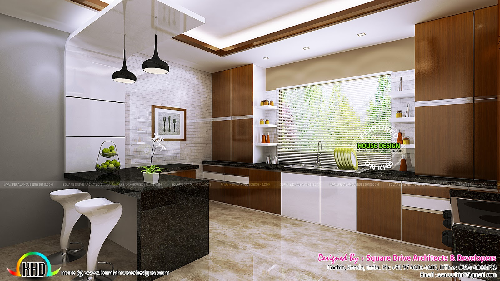 Kitchen and dining room interior ideas kerala home for Kitchen designs kerala homes