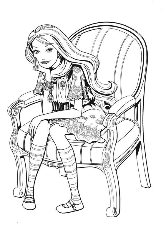 Tranh tô màu dáng người ngồi chống tay trên ghế đẹp