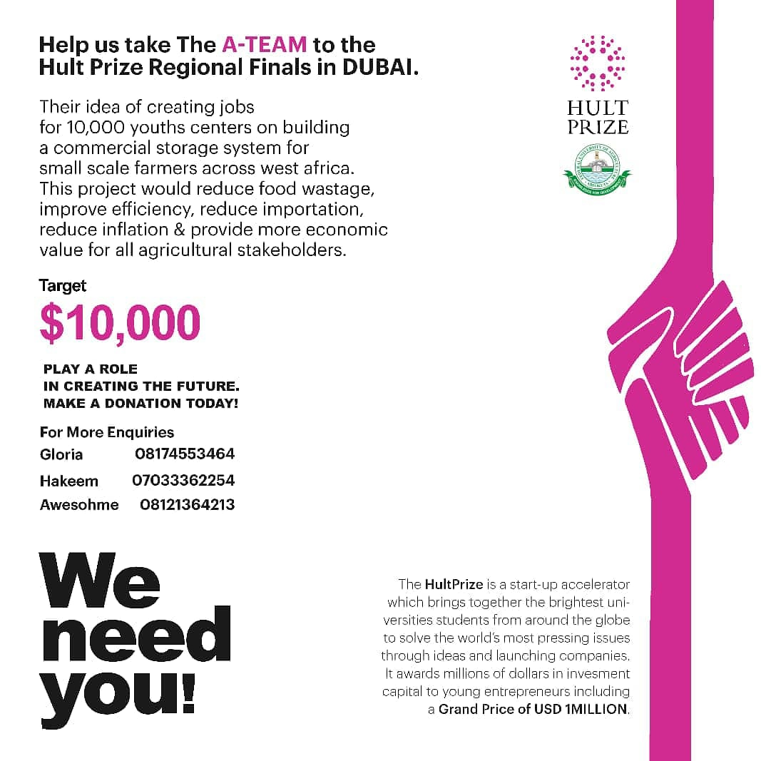 SUPPORT THE HULT PRIZE FUNAAB TEAM