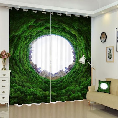3D window curtain image for modern living rooms