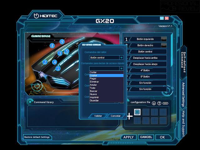 review profesional review, review raton gaming, review gx20, raton hiditec gx20 gaming 4000dpi, software GX20, OMRON, raton ambidiestro, retroiluminado, omron, raton gaming, on the fly, sensor avago
