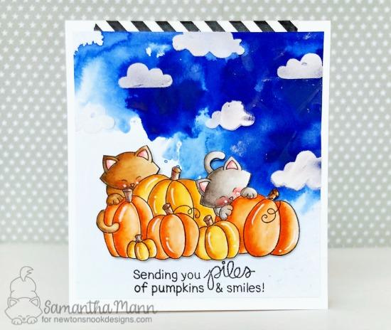 Cats in Pumpkin Patch Card by Samantha Mann| Newton's Pumpkin Patch Stamp Set by Newton's Nook Designs #newtonsnook