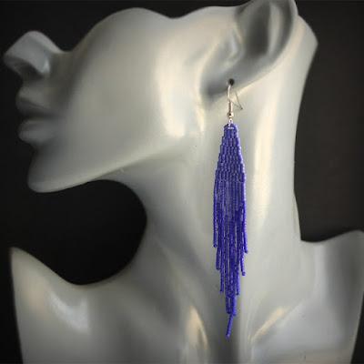 Купить длинные серьги из бисера купить стильные украшения из бисера