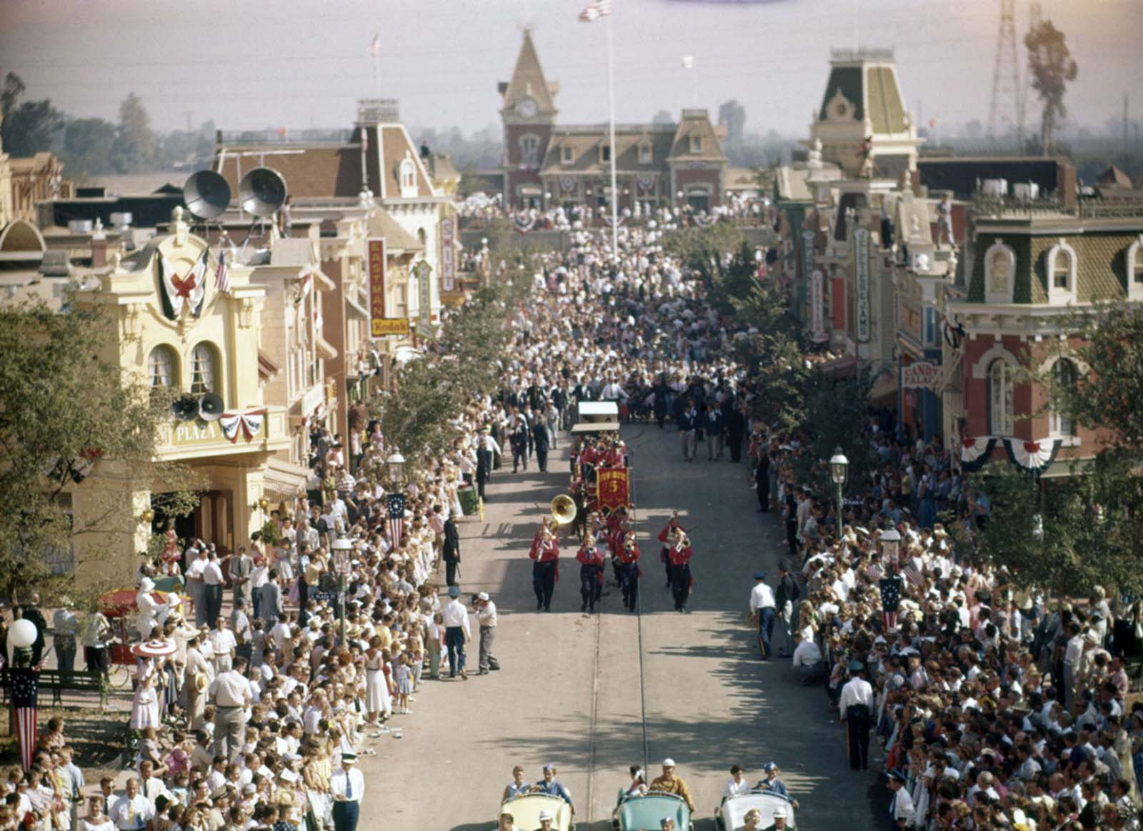 Disneyland's opening-day parade, photographed on July 17, 1955.