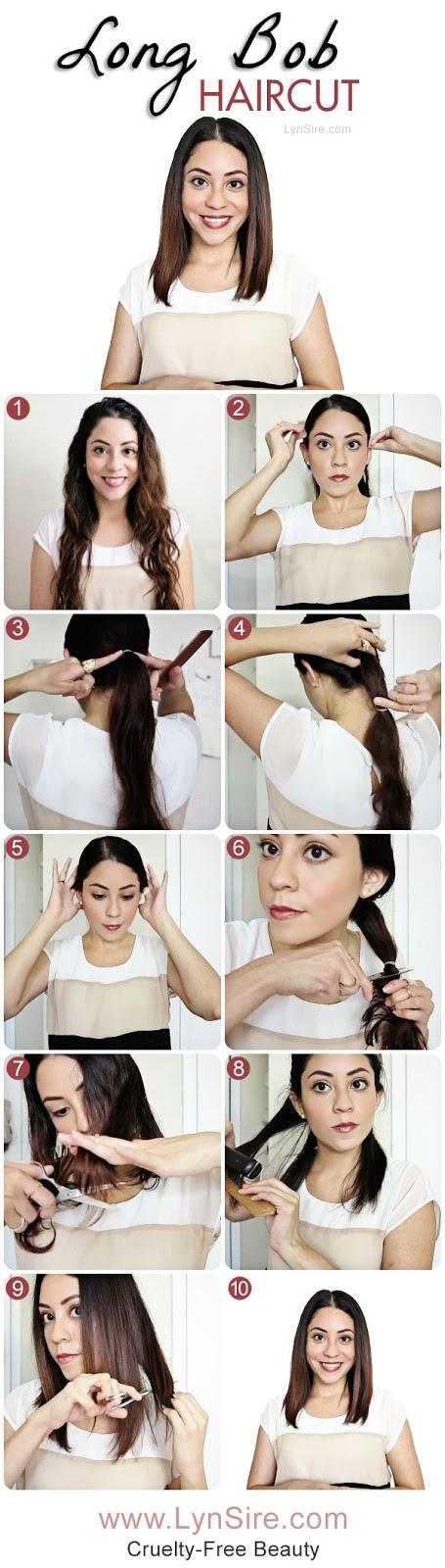 Long Bob Haircut Tutorial! How to Cut Your Own Hair - LynSire.com | Cruelty-Free Beauty