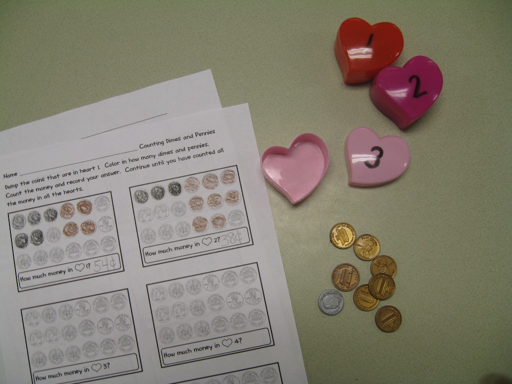 Counting Dimes And Pennies Valentine Activity