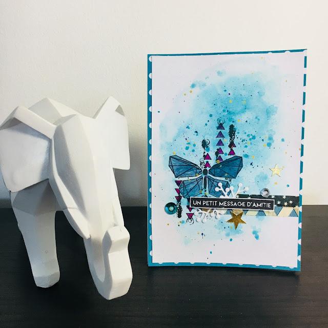 Carte papillon bleu