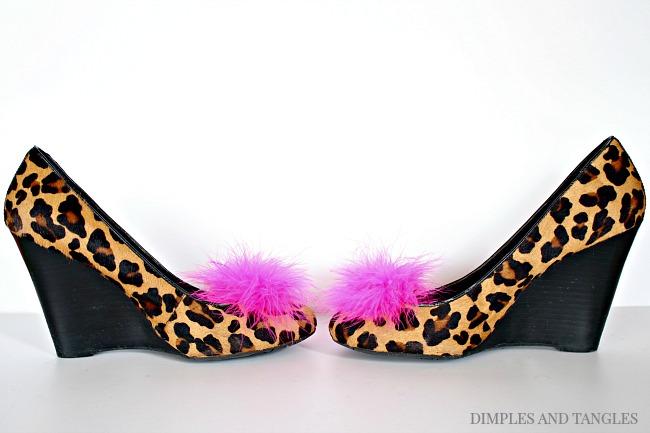 DIY designer shoe look for less, leopard wedges, feather shoe clip