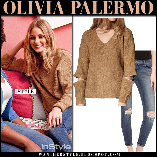 Olivia Palermo in beige knit sweater storets roa and skinny jeans j brand 835 what she wore