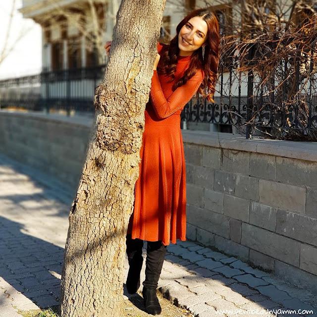 kahverengi sim detaylı elbise