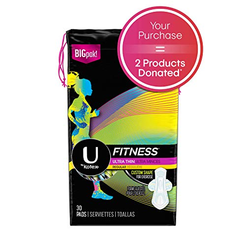 #u #fitness U by Kotex Fitness Ultra Thin Pads with Wings, Regular  Absorbency, Fragrance-Free Pads,