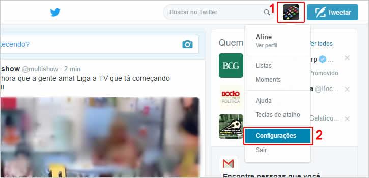 Acessando o perfil e configurações do Twitter